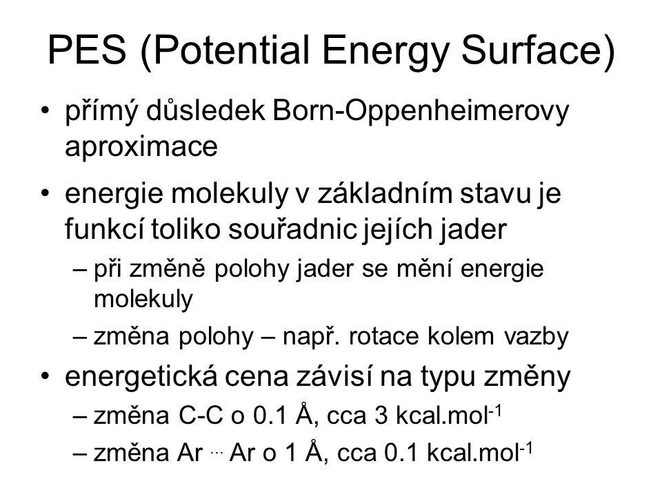 PES (Potential Energy Surface) přímý důsledek Born-Oppenheimerovy aproximace energie molekuly v základním stavu je funkcí toliko souřadnic jejích jade