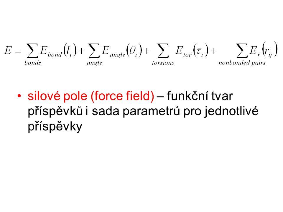 Molekulová dynamika nyní když víme jak vypočítat energii (potenciál) systému tak můžeme vypočítat i časový vývoj systému vzpomeňte si na kulečníkové koule, znám- li v daném časovém okamžiku polohy, hmotnosti a rychlosti všech koulí, pak dokažu vypočítat jejich polohy a rychlosti o kousek později (plus použiji zákon dopadu a odrazu)