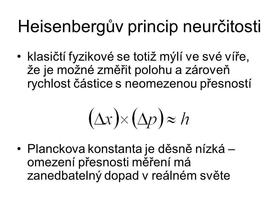 Heisenbergův princip neurčitosti klasičtí fyzikové se totiž mýlí ve své víře, že je možné změřit polohu a zároveň rychlost částice s neomezenou přesností Planckova konstanta je děsně nízká – omezení přesnosti měření má zanedbatelný dopad v reálném světe
