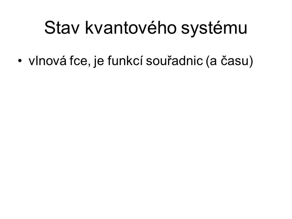 Stav kvantového systému vlnová fce, je funkcí souřadnic (a času)