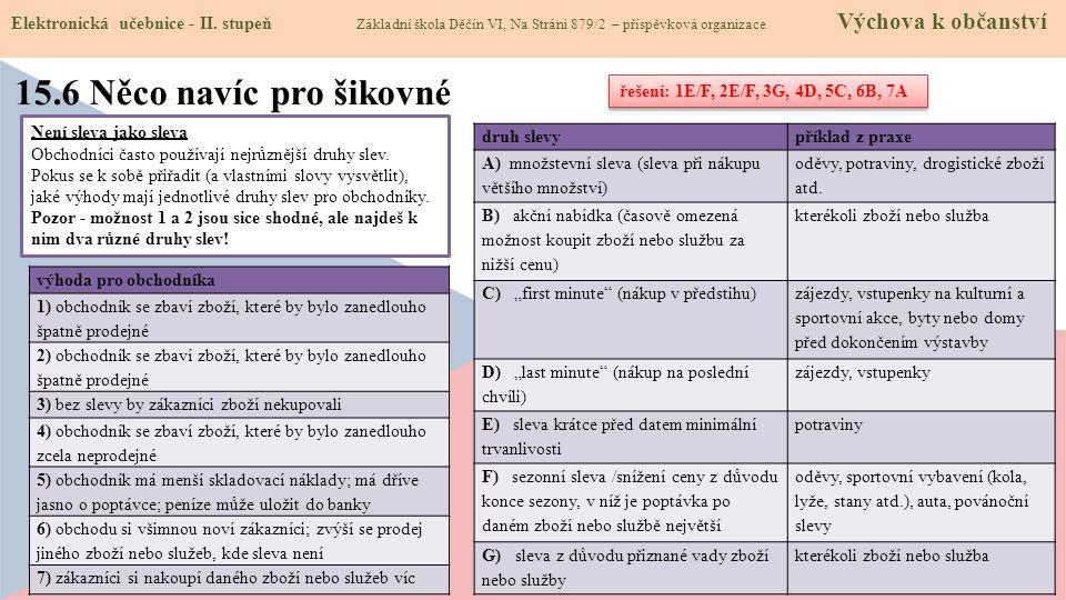 Elektronická učebnice - II. stupeň Základní škola Děčín VI, Na Stráni 879/2 – příspěvková organizace Výchova k občanství Není sleva jako sleva Obchodn