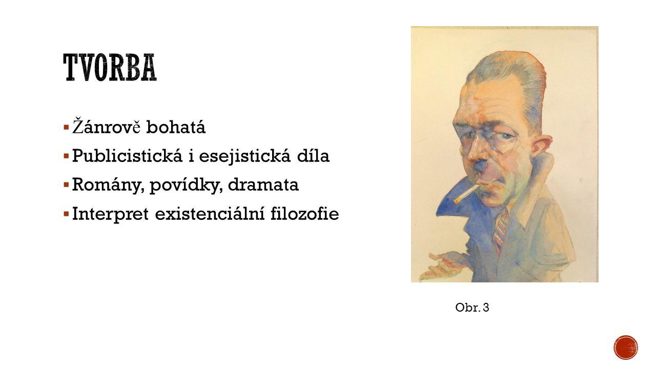  Ž ánrov ě bohatá  Publicistická i esejistická díla  Romány, povídky, dramata  Interpret existenciální filozofie Obr.