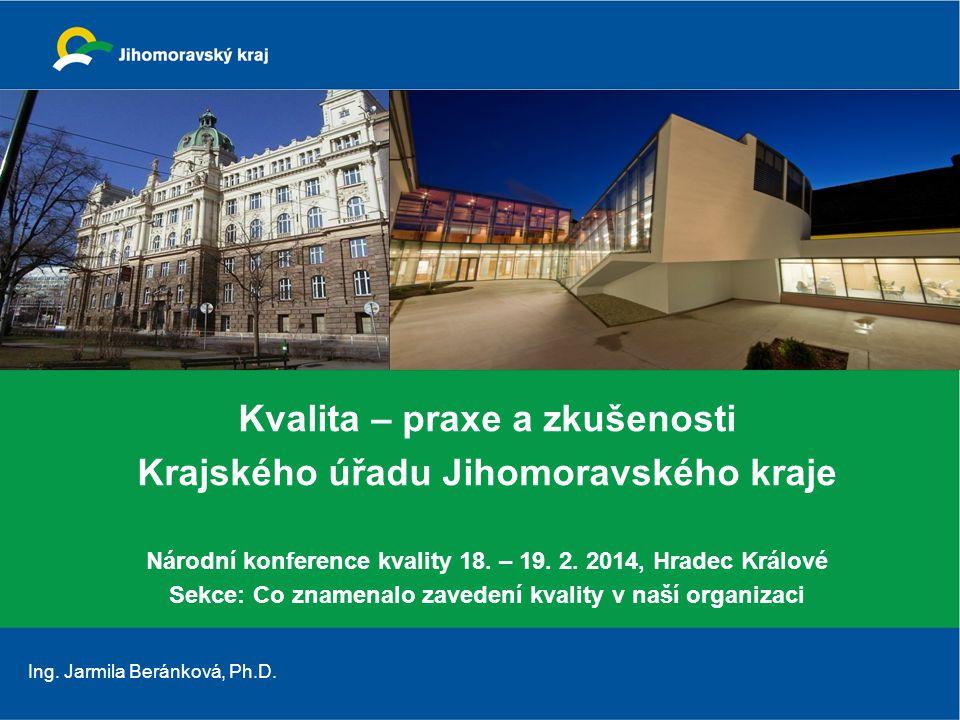 Kvalita – praxe a zkušenosti Krajského úřadu Jihomoravského kraje Národní konference kvality 18.