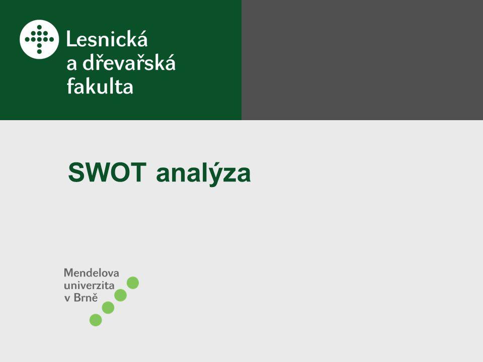 CO JE TO SWOT ANALÝZA Univerzálně používaný nástroj, který mapuje a analyzuje daný jev (například určitý stav, situaci, úkol, problém, pracovní tým, projekt atd.) Umožňuje dívat se na analyzovanou věc ze 4 úhlů pohledu Dává statický snímek analyzovaného jevu, který lze přenést do pohledu dynamického