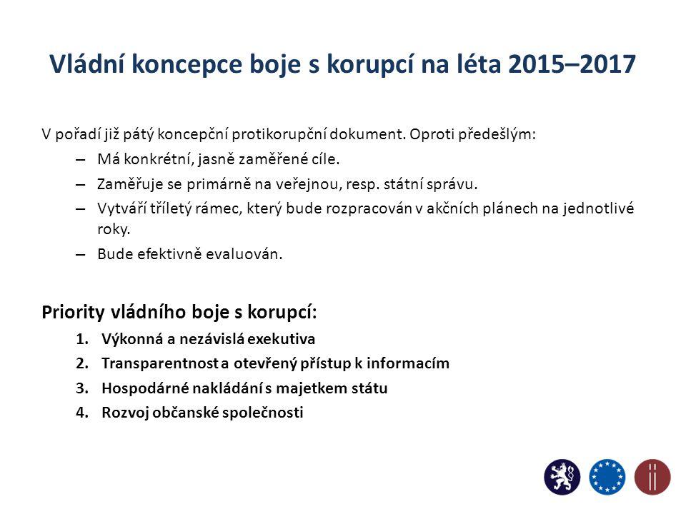 Vládní koncepce boje s korupcí na léta 2015–2017 V pořadí již pátý koncepční protikorupční dokument. Oproti předešlým: – Má konkrétní, jasně zaměřené