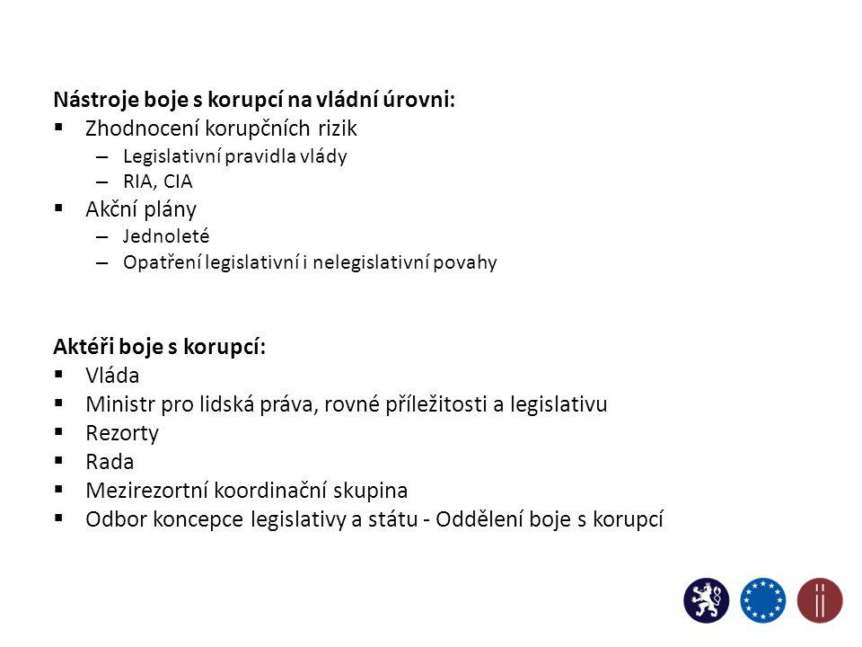 Nástroje boje s korupcí na vládní úrovni:  Zhodnocení korupčních rizik – Legislativní pravidla vlády – RIA, CIA  Akční plány – Jednoleté – Opatření