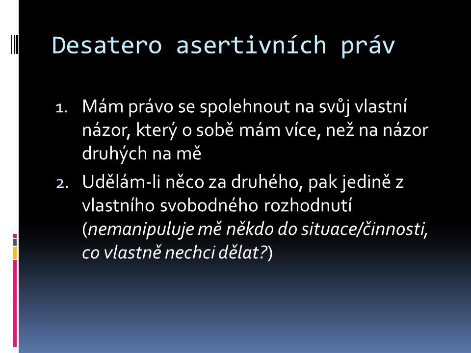 Desatero asertivních práv 1.