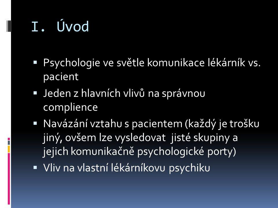 I.Úvod  Psychologie ve světle komunikace lékárník vs.