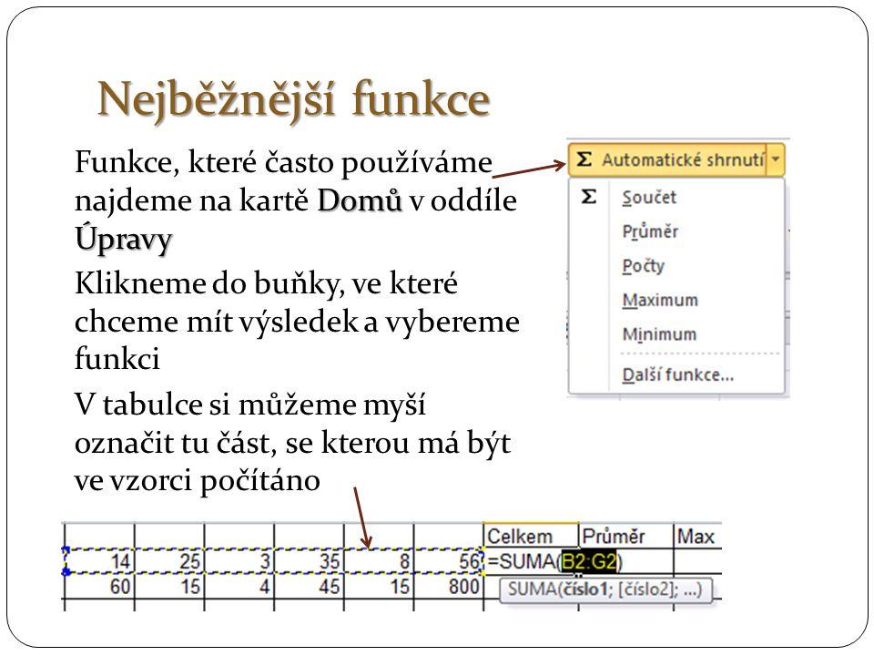 Nejběžnější funkce Domů Úpravy Funkce, které často používáme najdeme na kartě Domů v oddíle Úpravy Klikneme do buňky, ve které chceme mít výsledek a vybereme funkci V tabulce si můžeme myší označit tu část, se kterou má být ve vzorci počítáno