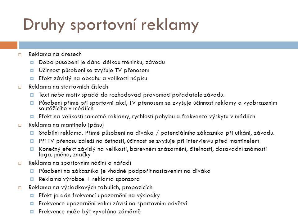 Druhy sportovní reklamy  Reklama na dresech  Doba působení je dána délkou tréninku, závodu  Účinnost působení se zvyšuje TV přenosem  Efekt závisl
