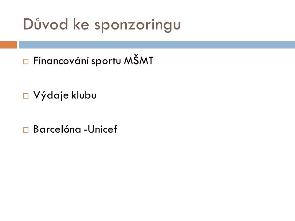 Důvod ke sponzoringu  Financování sportu MŠMT  Výdaje klubu  Barcelóna -Unicef