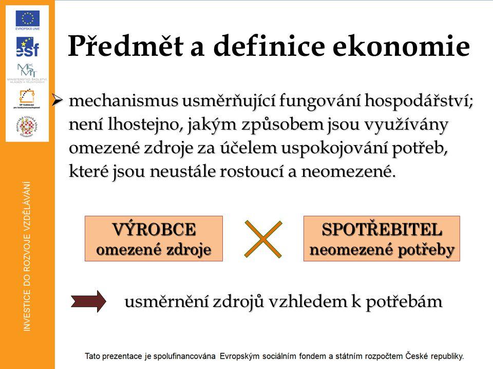 přístupy v ekonomii (pozitivní a normativní) ekonomie versus ekonomika mikroekonomie X makroekonomie výrobní faktory základní ekonomické otázky: CO.
