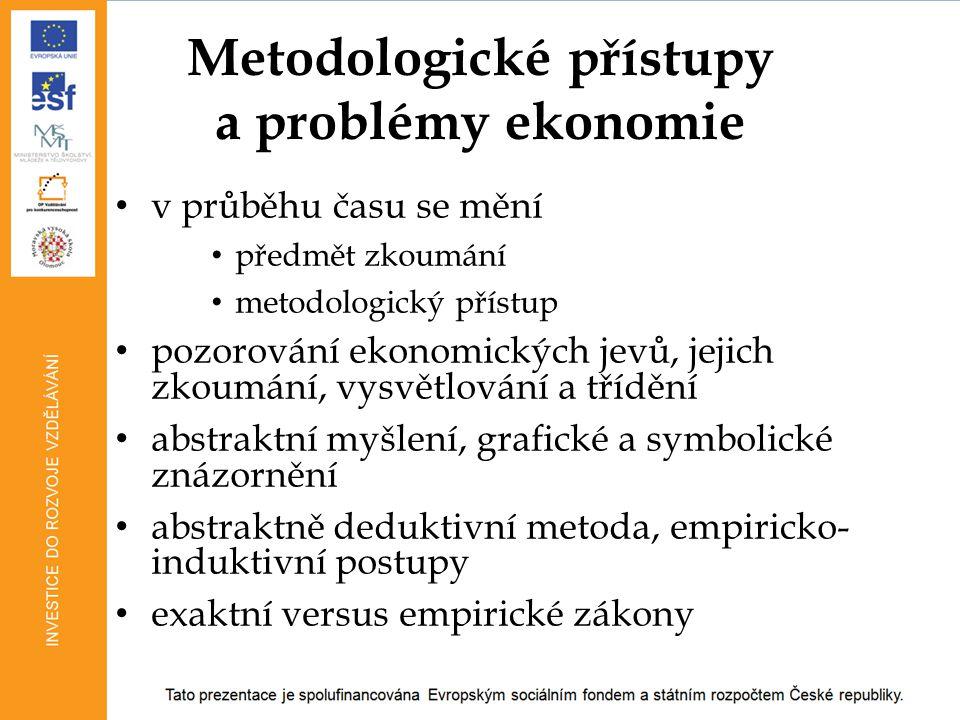 Metodologické přístupy a problémy ekonomie v průběhu času se mění předmět zkoumání metodologický přístup pozorování ekonomických jevů, jejich zkoumání