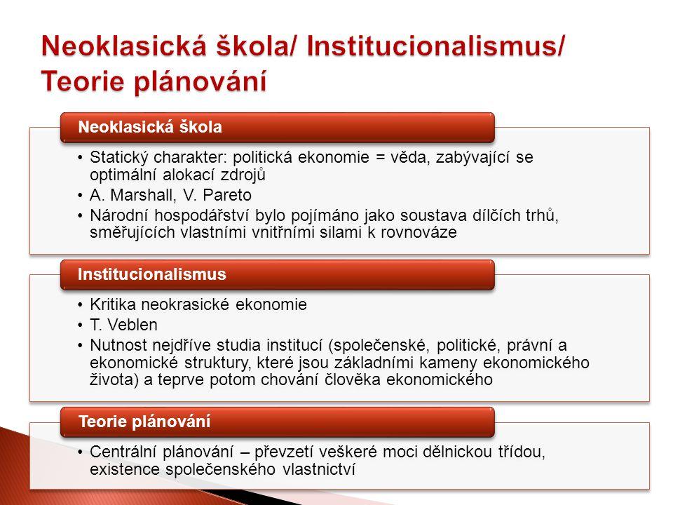 Statický charakter: politická ekonomie = věda, zabývající se optimální alokací zdrojů A. Marshall, V. Pareto Národní hospodářství bylo pojímáno jako s
