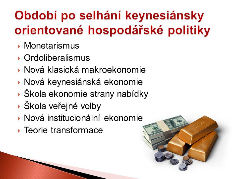  Monetarismus  Ordoliberalismus  Nová klasická makroekonomie  Nová keynesiánská ekonomie  Škola ekonomie strany nabídky  Škola veřejné volby  N