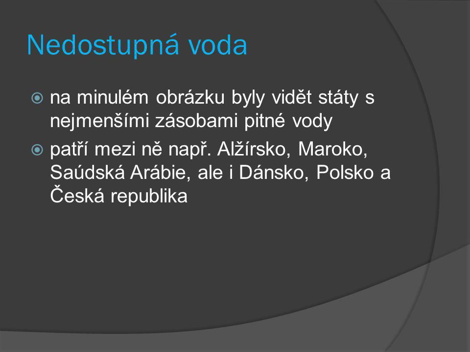  na minulém obrázku byly vidět státy s nejmenšími zásobami pitné vody  patří mezi ně např. Alžírsko, Maroko, Saúdská Arábie, ale i Dánsko, Polsko a
