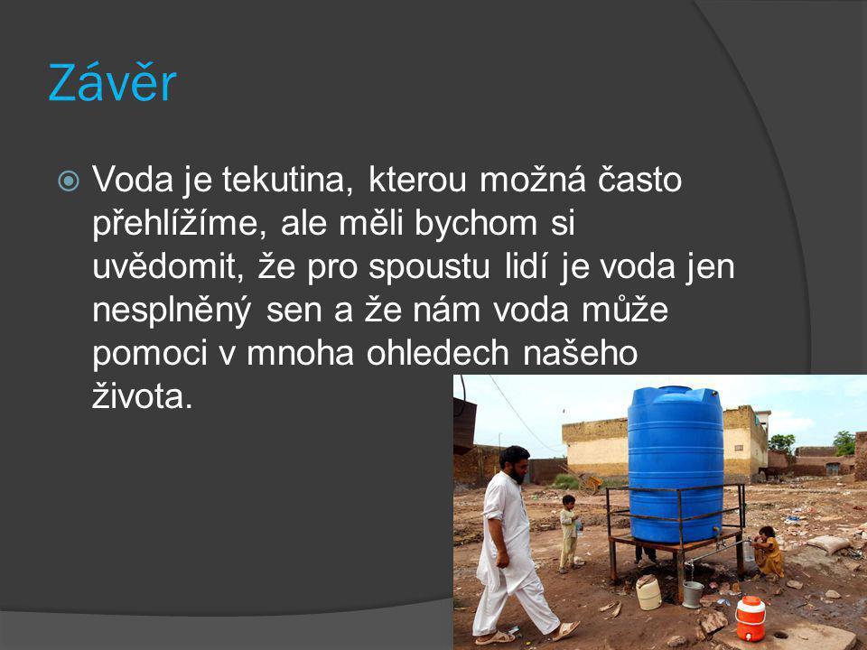 Závěr  Voda je tekutina, kterou možná často přehlížíme, ale měli bychom si uvědomit, že pro spoustu lidí je voda jen nesplněný sen a že nám voda může pomoci v mnoha ohledech našeho života.
