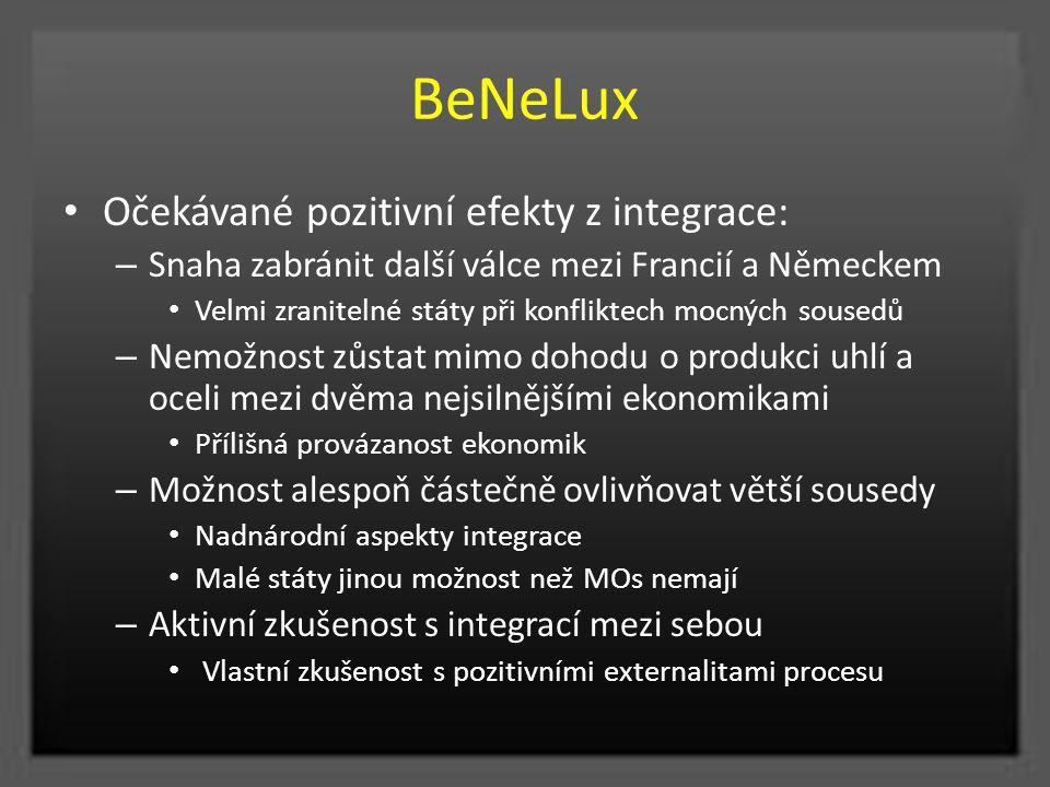 BeNeLux Očekávané pozitivní efekty z integrace: – Snaha zabránit další válce mezi Francií a Německem Velmi zranitelné státy při konfliktech mocných so