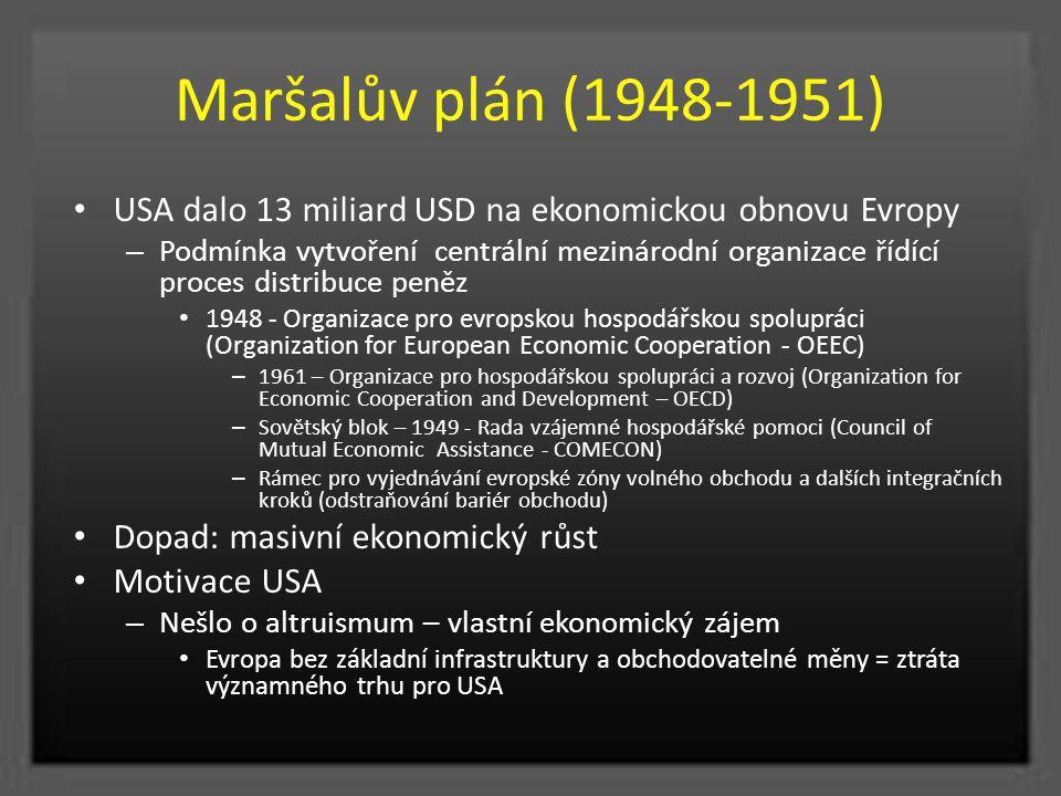Maršalův plán (1948-1951) USA dalo 13 miliard USD na ekonomickou obnovu Evropy – Podmínka vytvoření centrální mezinárodní organizace řídící proces dis