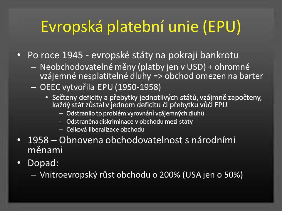 Evropská platební unie (EPU) Po roce 1945 - evropské státy na pokraji bankrotu – Neobchodovatelné měny (platby jen v USD) + ohromné vzájemné nesplatit