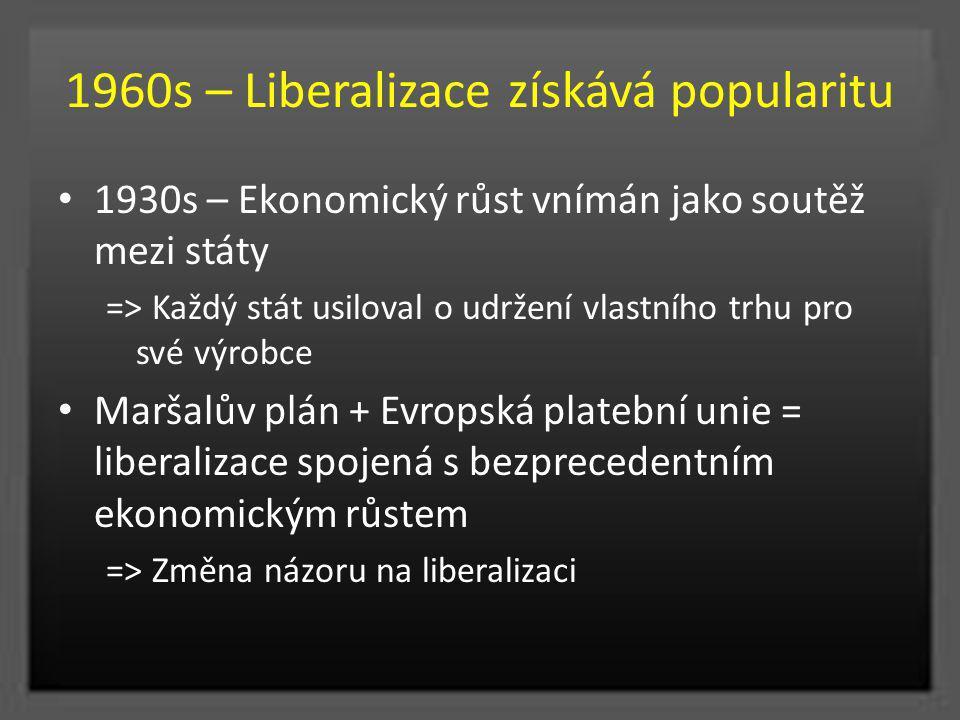 1960s – Liberalizace získává popularitu 1930s – Ekonomický růst vnímán jako soutěž mezi státy => Každý stát usiloval o udržení vlastního trhu pro své