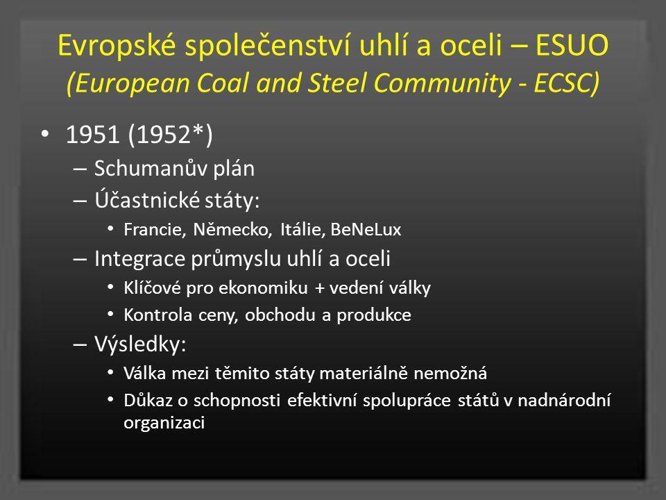 Evropské společenství uhlí a oceli – ESUO (European Coal and Steel Community - ECSC) 1951 (1952*) – Schumanův plán – Účastnické státy: Francie, Německ