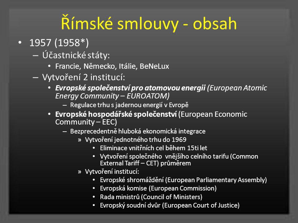 Římské smlouvy - obsah 1957 (1958*) – Účastnické státy: Francie, Německo, Itálie, BeNeLux – Vytvoření 2 institucí: Evropské společenství pro atomovou