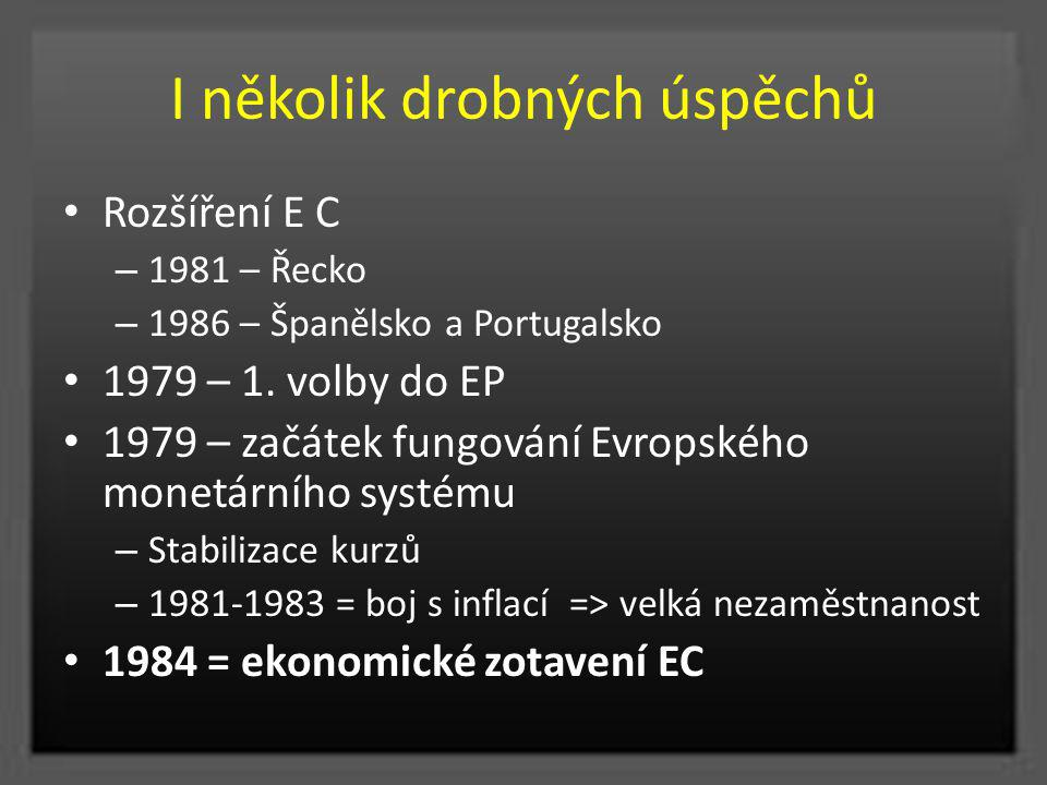 I několik drobných úspěchů Rozšíření E C – 1981 – Řecko – 1986 – Španělsko a Portugalsko 1979 – 1. volby do EP 1979 – začátek fungování Evropského mon