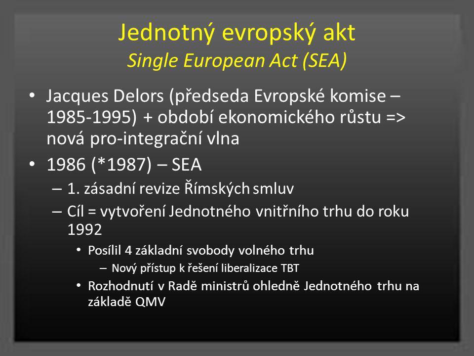 Jednotný evropský akt Single European Act (SEA) Jacques Delors (předseda Evropské komise – 1985-1995) + období ekonomického růstu => nová pro-integrač