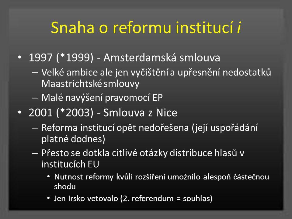 Snaha o reformu institucí i 1997 (*1999) - Amsterdamská smlouva – Velké ambice ale jen vyčištění a upřesnění nedostatků Maastrichtské smlouvy – Malé n