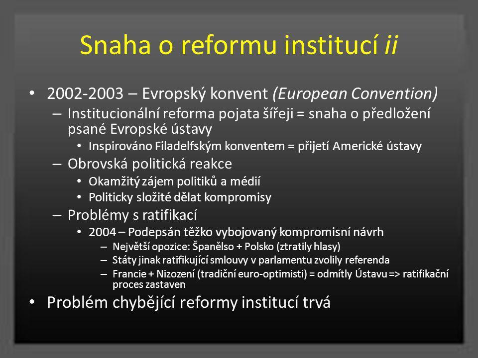 Snaha o reformu institucí ii 2002-2003 – Evropský konvent (European Convention) – Institucionální reforma pojata šířeji = snaha o předložení psané Evr