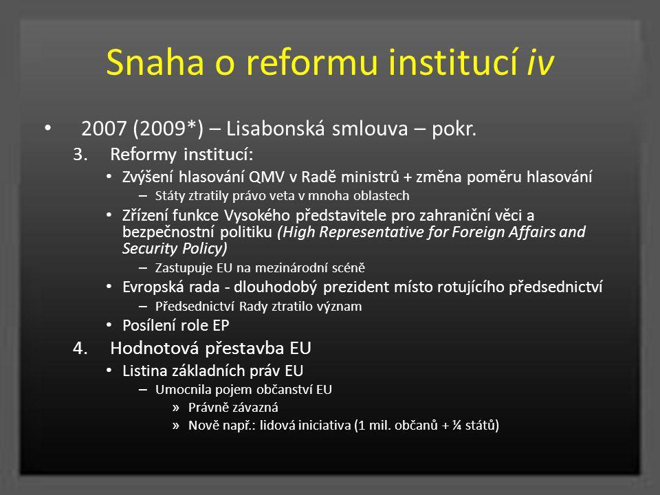 Snaha o reformu institucí iv 2007 (2009*) – Lisabonská smlouva – pokr. 3.Reformy institucí: Zvýšení hlasování QMV v Radě ministrů + změna poměru hlaso