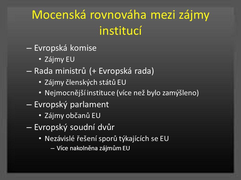 Mocenská rovnováha mezi zájmy institucí – Evropská komise Zájmy EU – Rada ministrů (+ Evropská rada) Zájmy členských států EU Nejmocnější instituce (v