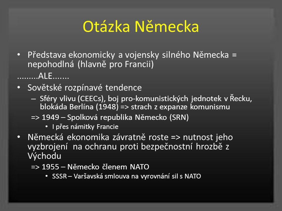 Otázka Německa Představa ekonomicky a vojensky silného Německa = nepohodlná (hlavně pro Francii).........ALE....... Sovětské rozpínavé tendence – Sfér