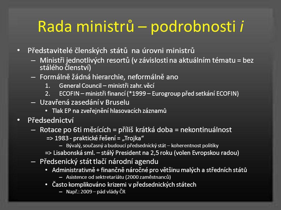 Rada ministrů – podrobnosti i Představitelé členských států na úrovni ministrů – Ministři jednotlivých resortů (v závislosti na aktuálním tématu = bez