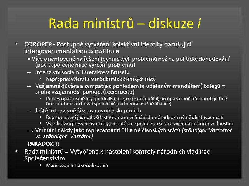 Rada ministrů – diskuze i COROPER - Postupné vytváření kolektivní identity narušující intergovernmentalismus instituce = Více orientované na řešení te