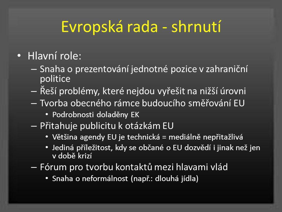 Evropská rada - shrnutí Hlavní role: – Snaha o prezentování jednotné pozice v zahraniční politice – Řeší problémy, které nejdou vyřešit na nižší úrovn
