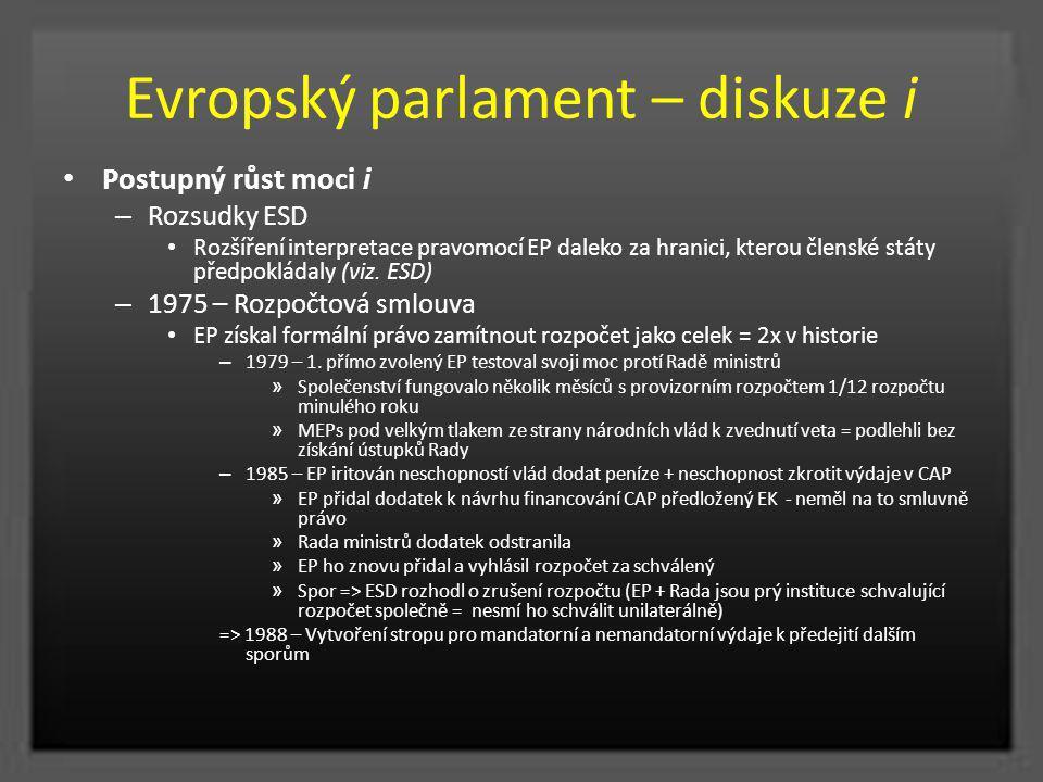 Evropský parlament – diskuze i Postupný růst moci i – Rozsudky ESD Rozšíření interpretace pravomocí EP daleko za hranici, kterou členské státy předpok