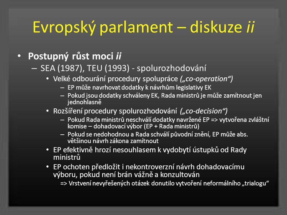 """Evropský parlament – diskuze ii Postupný růst moci ii – SEA (1987), TEU (1993) - spolurozhodování Velké odbourání procedury spolupráce (""""co-operation"""""""