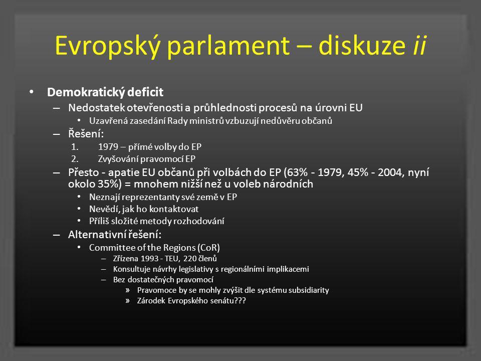 Evropský parlament – diskuze ii Demokratický deficit – Nedostatek otevřenosti a průhlednosti procesů na úrovni EU Uzavřená zasedání Rady ministrů vzbu