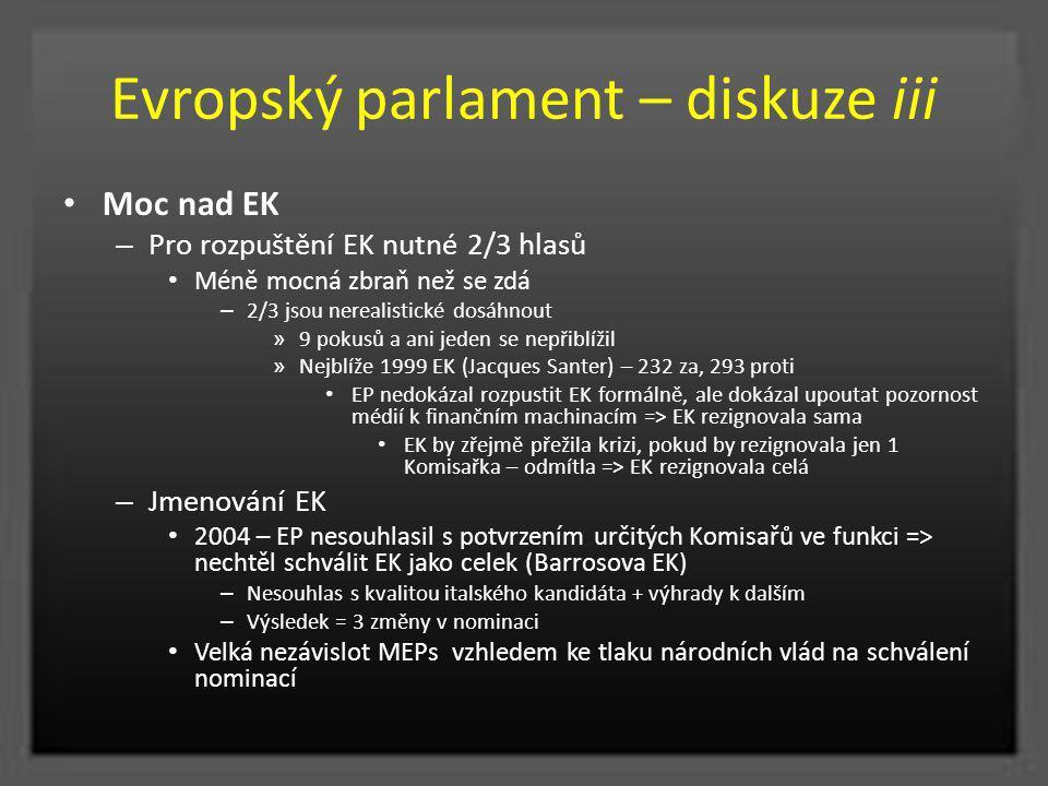 Evropský parlament – diskuze iii Moc nad EK – Pro rozpuštění EK nutné 2/3 hlasů Méně mocná zbraň než se zdá – 2/3 jsou nerealistické dosáhnout » 9 pok