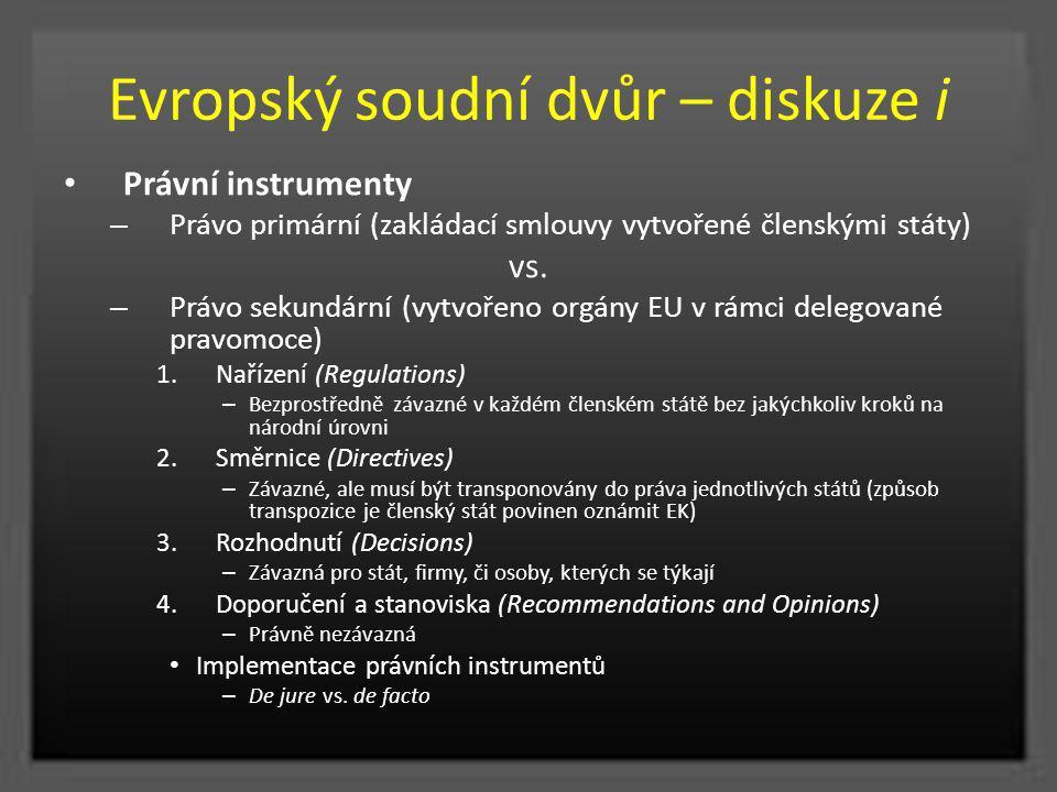 Evropský soudní dvůr – diskuze i Právní instrumenty – Právo primární (zakládací smlouvy vytvořené členskými státy) vs. – Právo sekundární (vytvořeno o