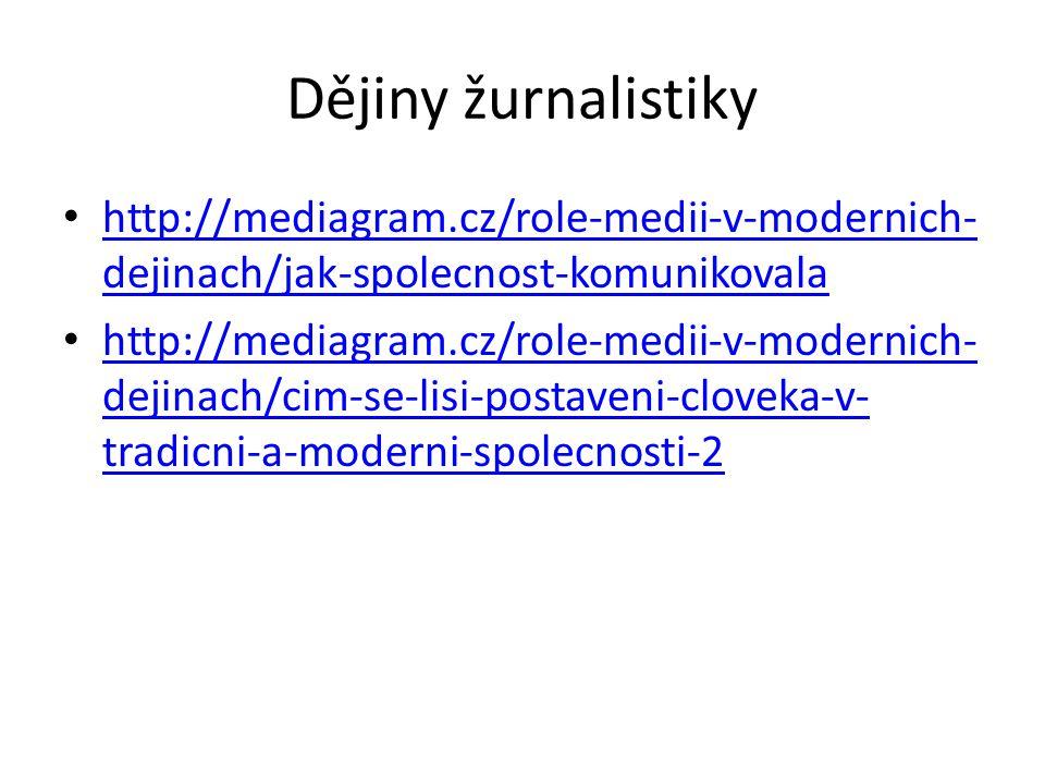 Dějiny žurnalistiky http://mediagram.cz/role-medii-v-modernich- dejinach/jak-spolecnost-komunikovala http://mediagram.cz/role-medii-v-modernich- dejinach/jak-spolecnost-komunikovala http://mediagram.cz/role-medii-v-modernich- dejinach/cim-se-lisi-postaveni-cloveka-v- tradicni-a-moderni-spolecnosti-2 http://mediagram.cz/role-medii-v-modernich- dejinach/cim-se-lisi-postaveni-cloveka-v- tradicni-a-moderni-spolecnosti-2