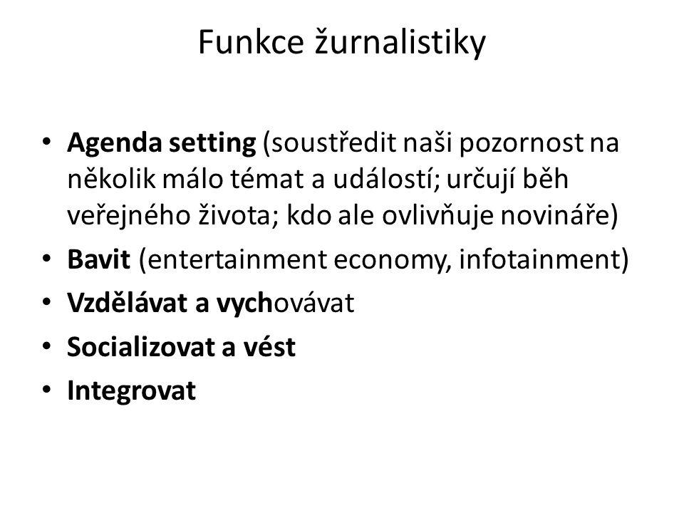 Funkce žurnalistiky Agenda setting (soustředit naši pozornost na několik málo témat a událostí; určují běh veřejného života; kdo ale ovlivňuje novináře) Bavit (entertainment economy, infotainment) Vzdělávat a vychovávat Socializovat a vést Integrovat