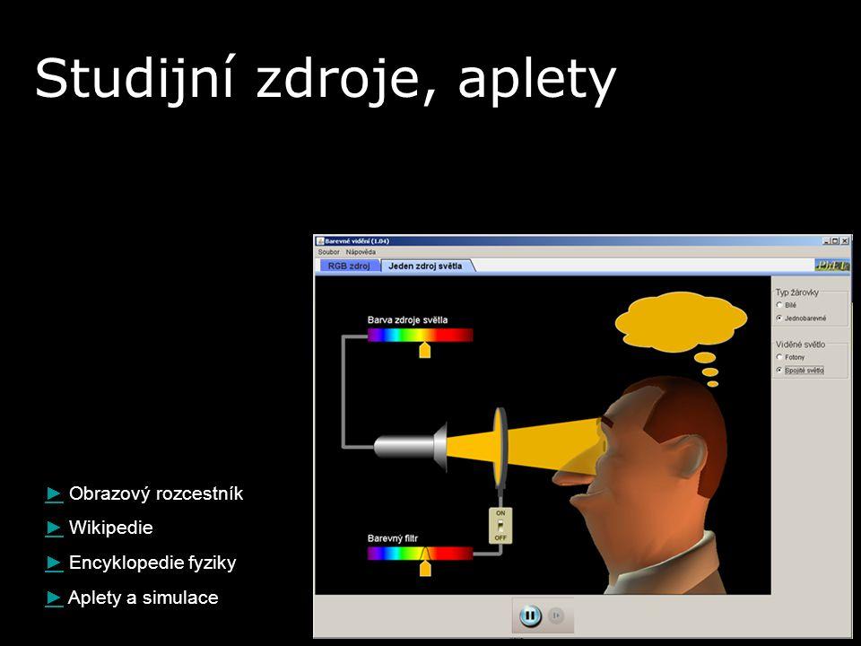 ►► Obrazový rozcestník ►► Wikipedie ►► Encyklopedie fyziky ►► Aplety a simulace Studijní zdroje, aplety