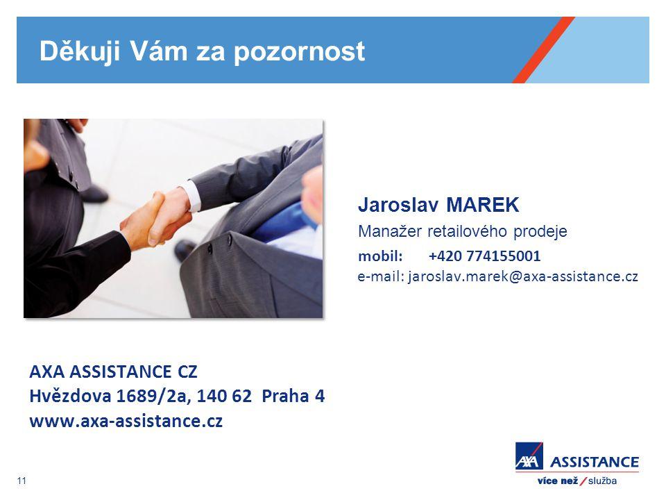 11 Děkuji Vám za pozornost Jaroslav MAREK Manažer retailového prodeje mobil: +420 774155001 e-mail: jaroslav.marek@axa-assistance.cz AXA ASSISTANCE CZ