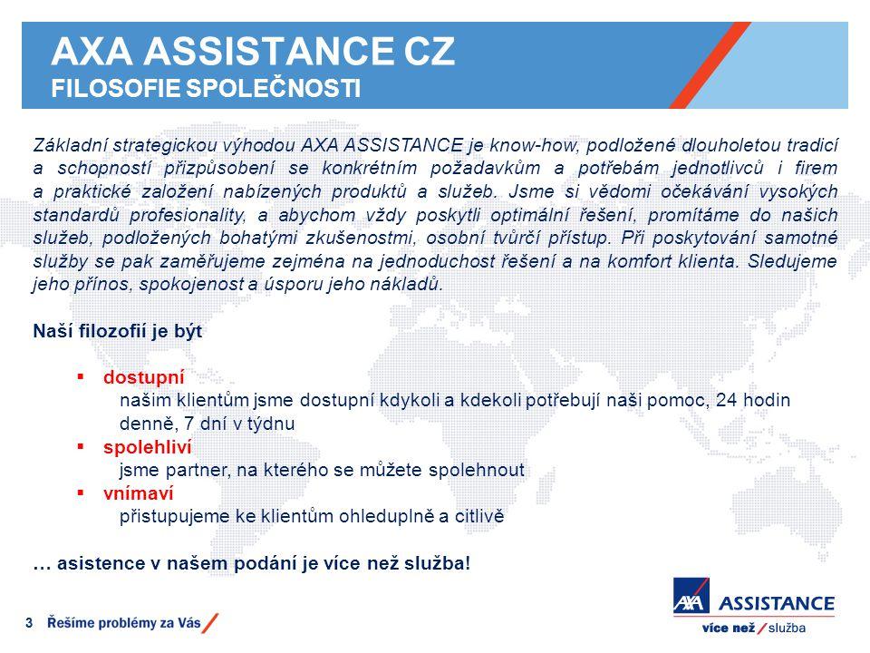 AXA ASSISTANCE CZ FILOSOFIE SPOLEČNOSTI 33 Základní strategickou výhodou AXA ASSISTANCE je know-how, podložené dlouholetou tradicí a schopností přizpů