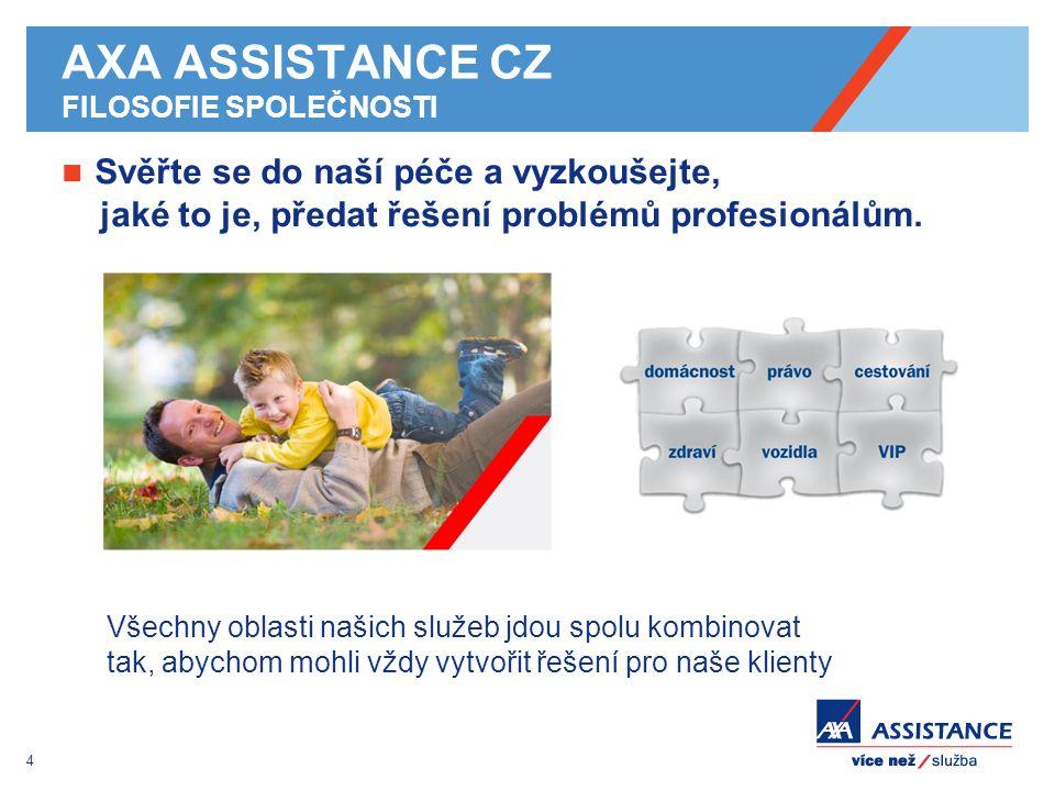 4 AXA ASSISTANCE CZ FILOSOFIE SPOLEČNOSTI Svěřte se do naší péče a vyzkoušejte, jaké to je, předat řešení problémů profesionálům. Všechny oblasti naši