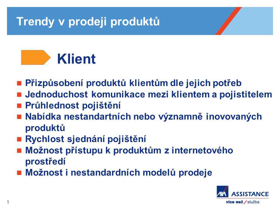 5 Trendy v prodeji produktů Klient Přizpůsobení produktů klientům dle jejich potřeb Jednoduchost komunikace mezi klientem a pojistitelem Průhlednost p