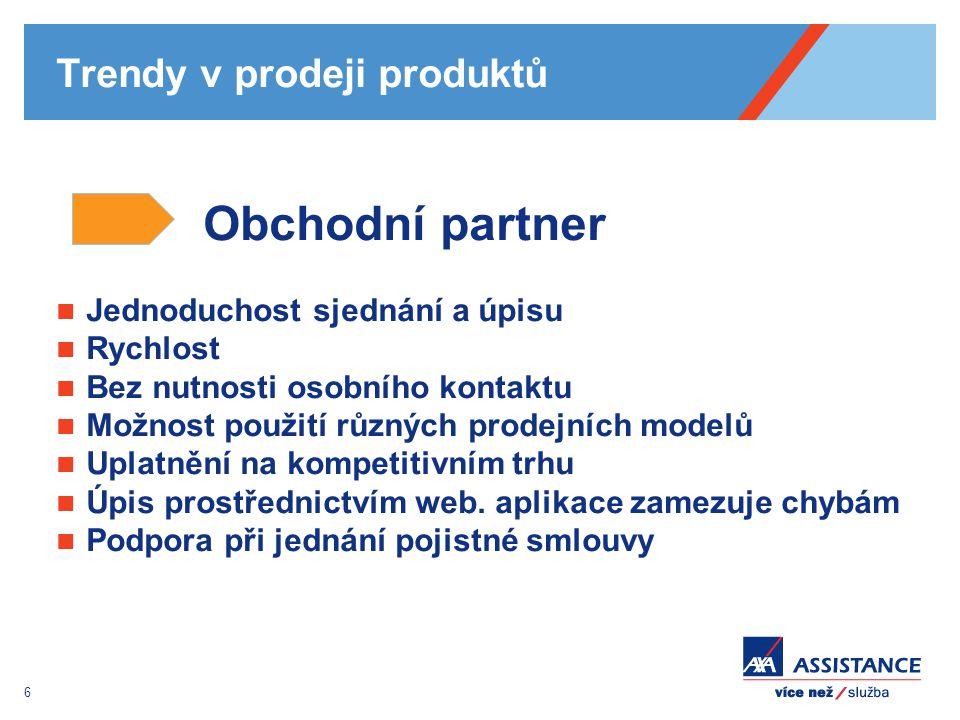 6 Trendy v prodeji produktů Obchodní partner Jednoduchost sjednání a úpisu Rychlost Bez nutnosti osobního kontaktu Možnost použití různých prodejních